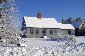 Taken in Rockland Maine Jan. 01 2008. Cottage on dirt road,just snowed the night before.
